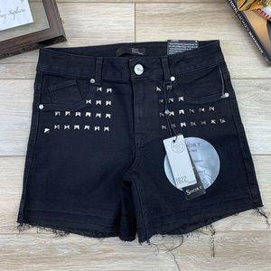 1822 Denim Black Stretch Jean Shorts Studded